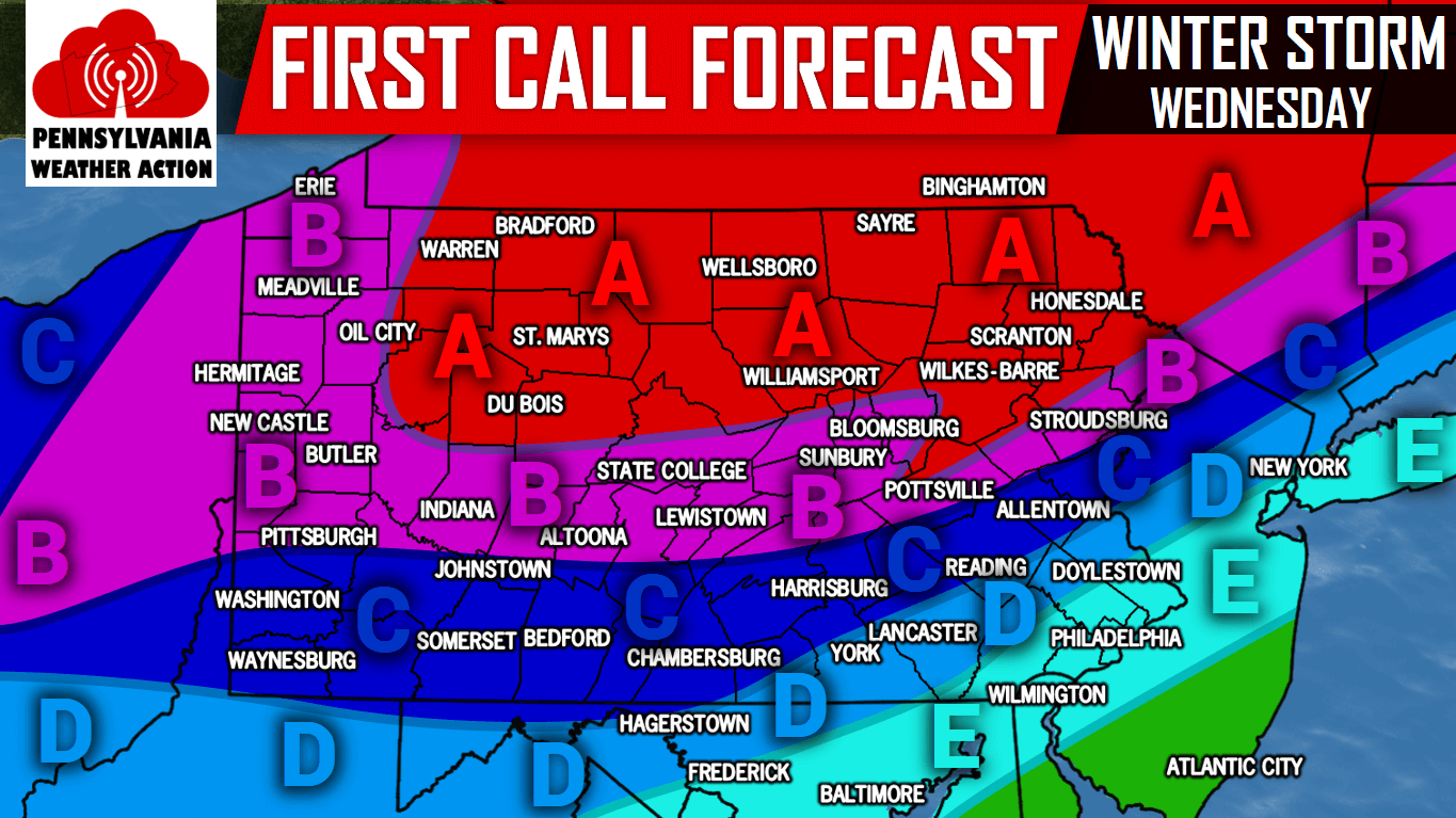 First Call For Wednesday S Significant Winter Storm Pa Weather Action