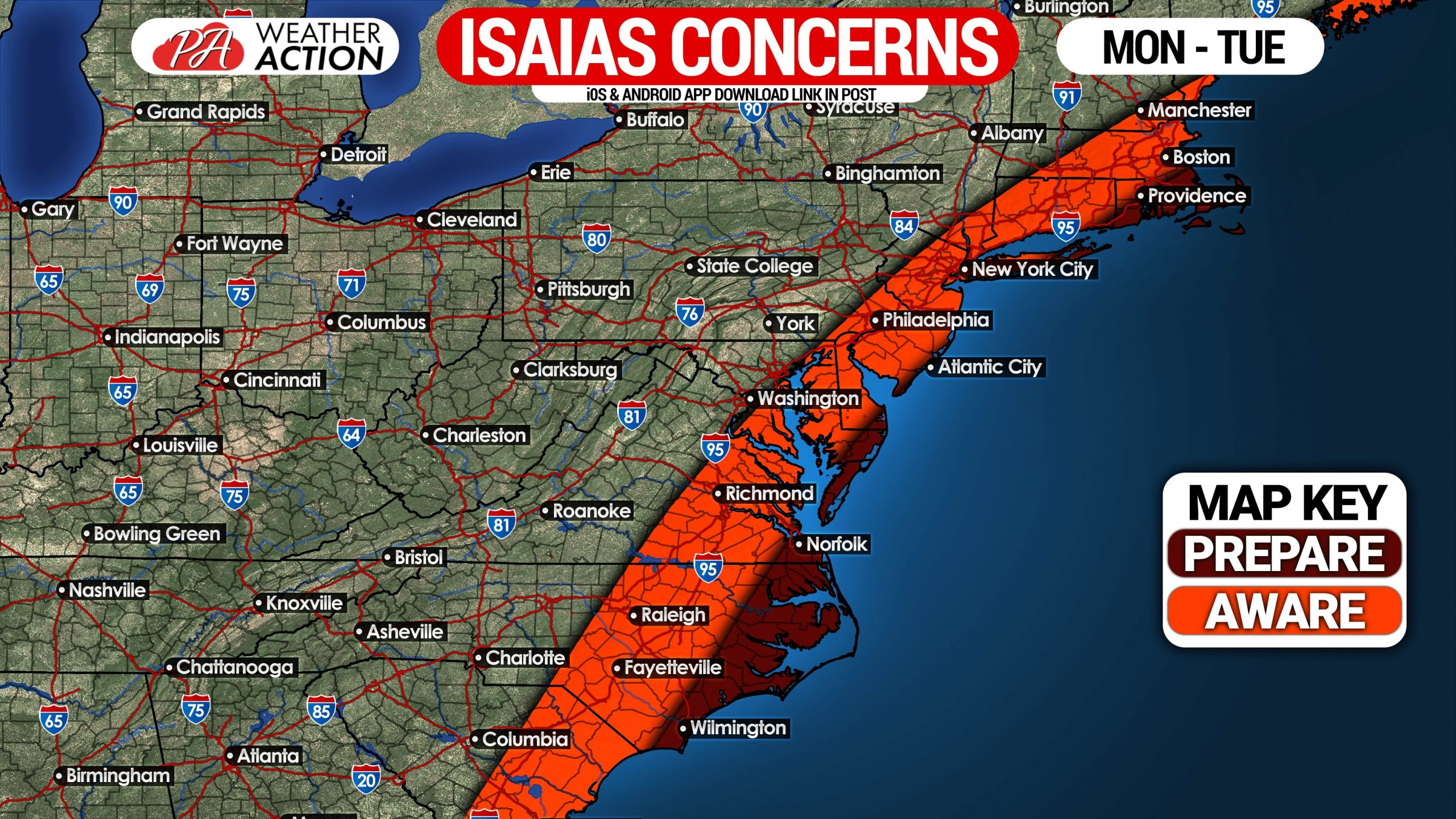 Hurricane Isaias Likely To Strike Eastern Nc To Cape Cod Monday Tuesday Pa Weather Action